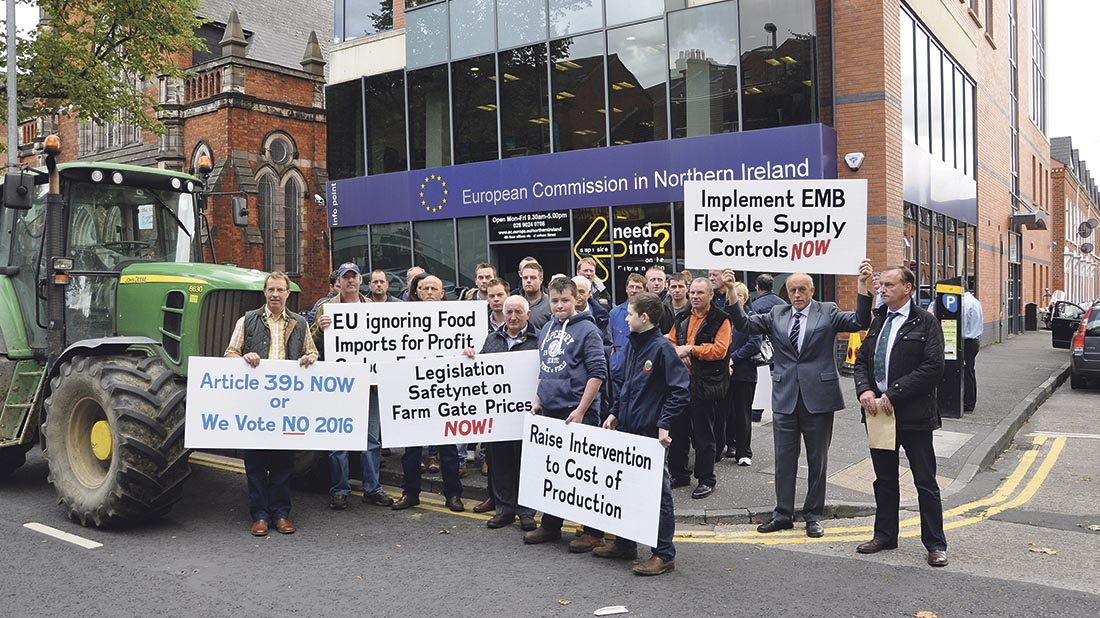 Farmers take protests to European Commission office in Belfast