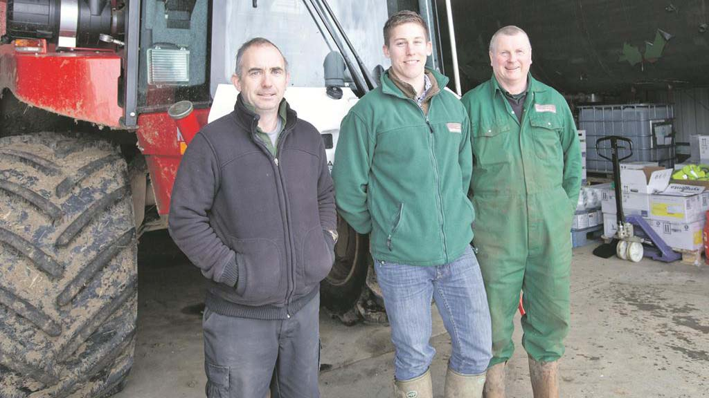 Sprayer operator Darren Bird, trainee assistant farm manager Harry Pitcher and bowser operator Steve Morris
