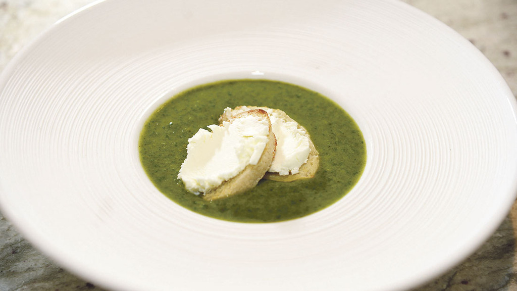 Watercress soup with goats' cheese croutons
