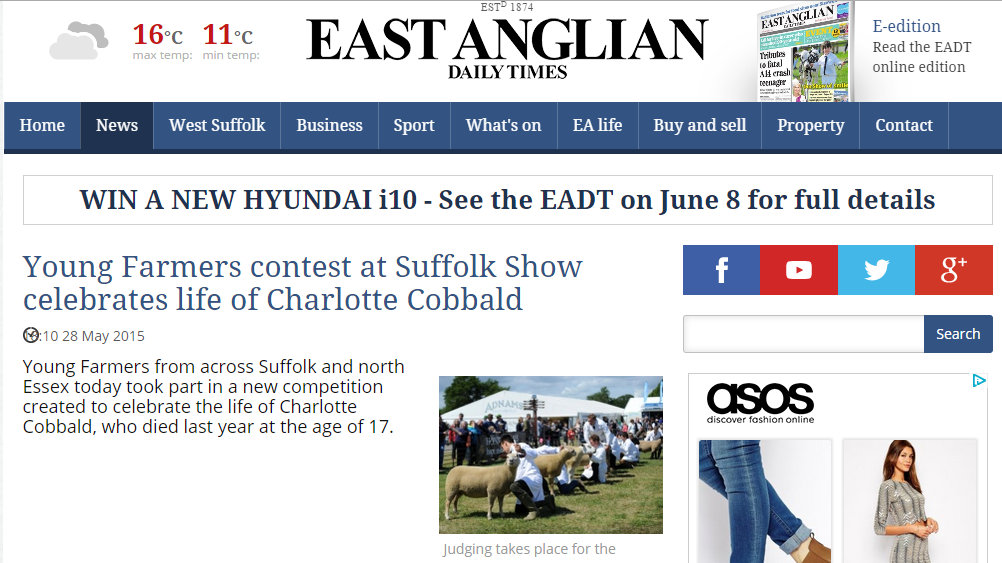 Young Farmers contest at Suffolk Show celebrates life of Charlotte Cobbald