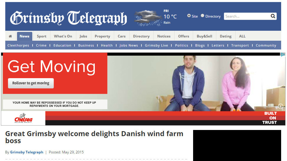 Great Grimsby welcome delights Danish wind farm boss