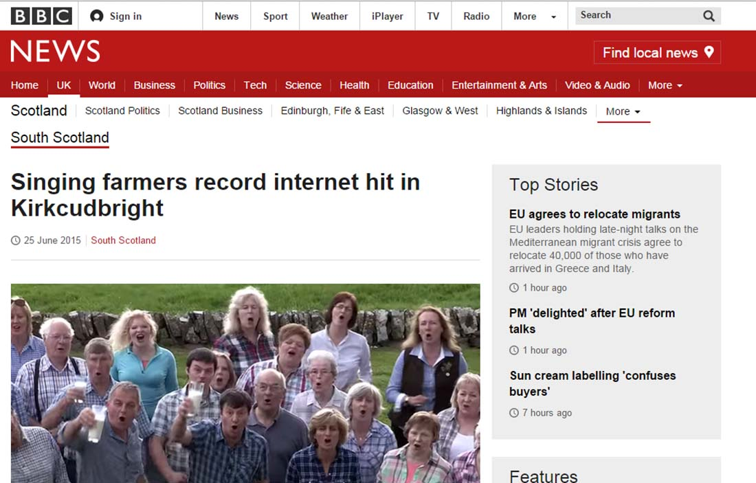 Singing farmers record internet hit in Kirkcudbright