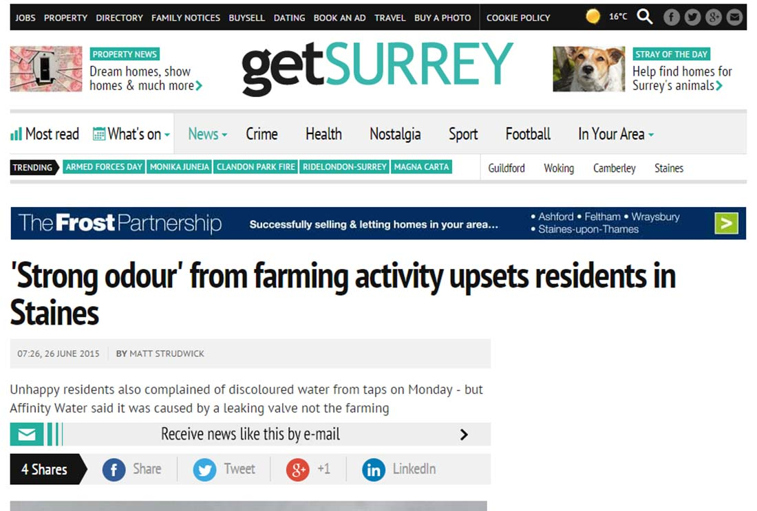 'Strong odour' from farming activity upsets residents in Staines