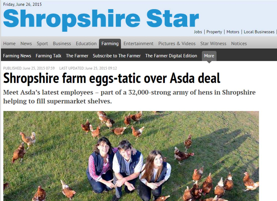 Shropshire farm eggs-tatic over Asda deal