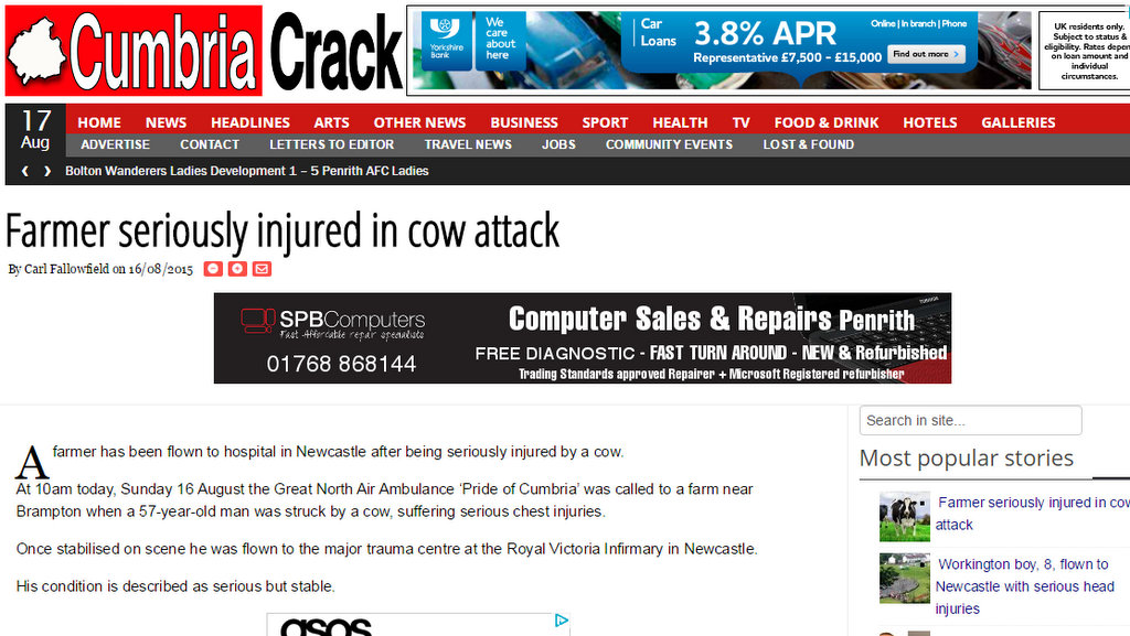 Farmer seriously injured in cow attack