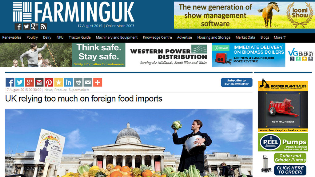 UK relying too much on foreign food imports