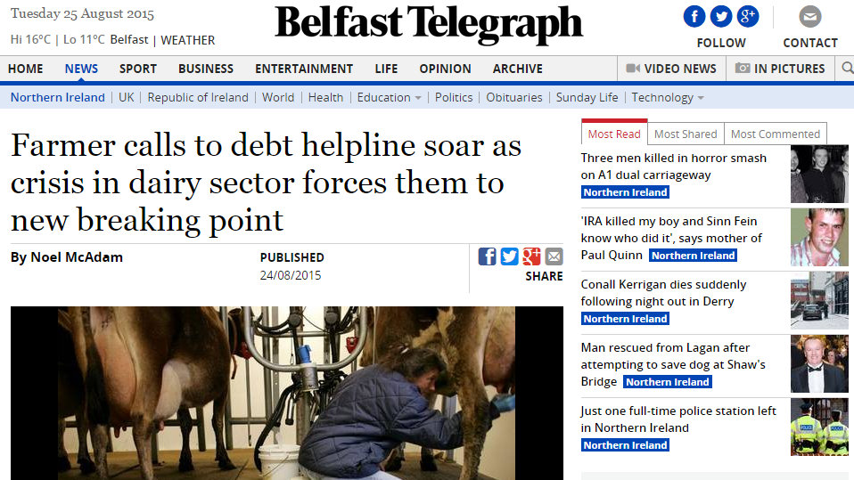 Farmer calls to debt helpline soar as crisis in dairy sector forces them to new breaking point