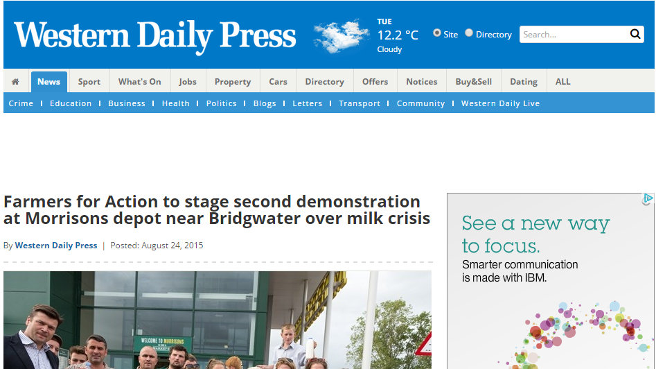 Farmers for Action to stage second demonstration at Morrisons depot near Bridgwater over milk crisis