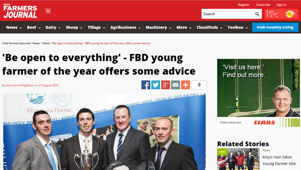 'Be open to everything' - FBD young farmer of the year offers some advice
