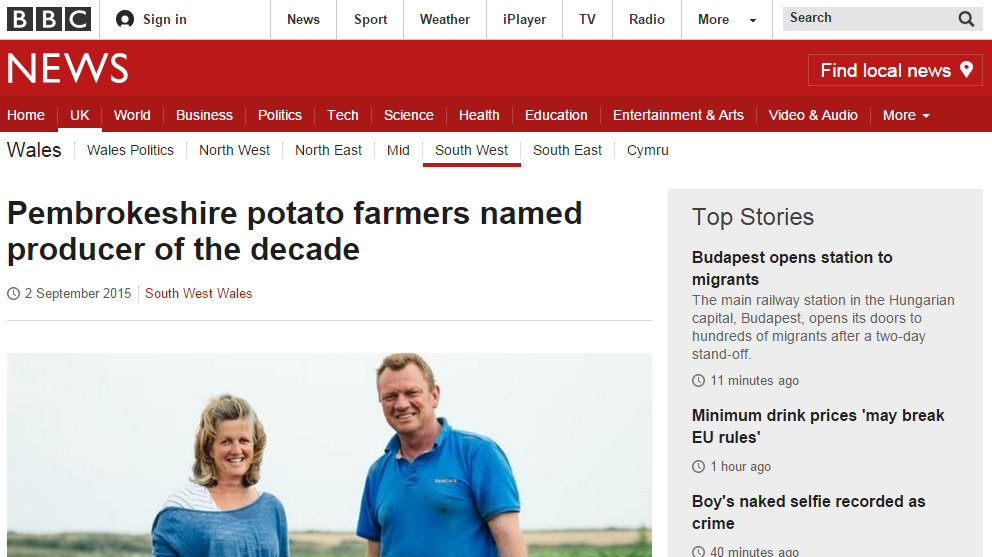 Pembrokeshire potato farmers named producer of the decade