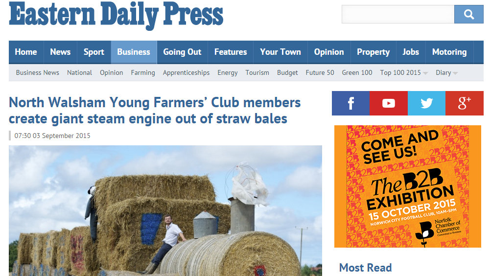 North Walsham Young Farmers' Club members create giant steam engine out of straw bales