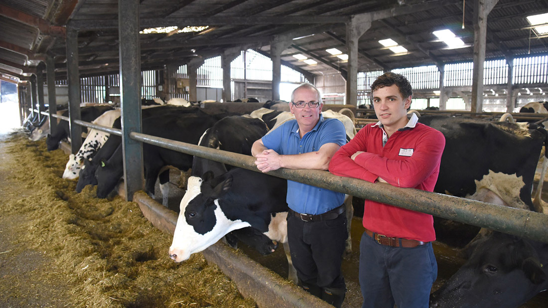 Matt Williamson (right) is set to take a two-year-old heifer to UK Dairy, in Telford