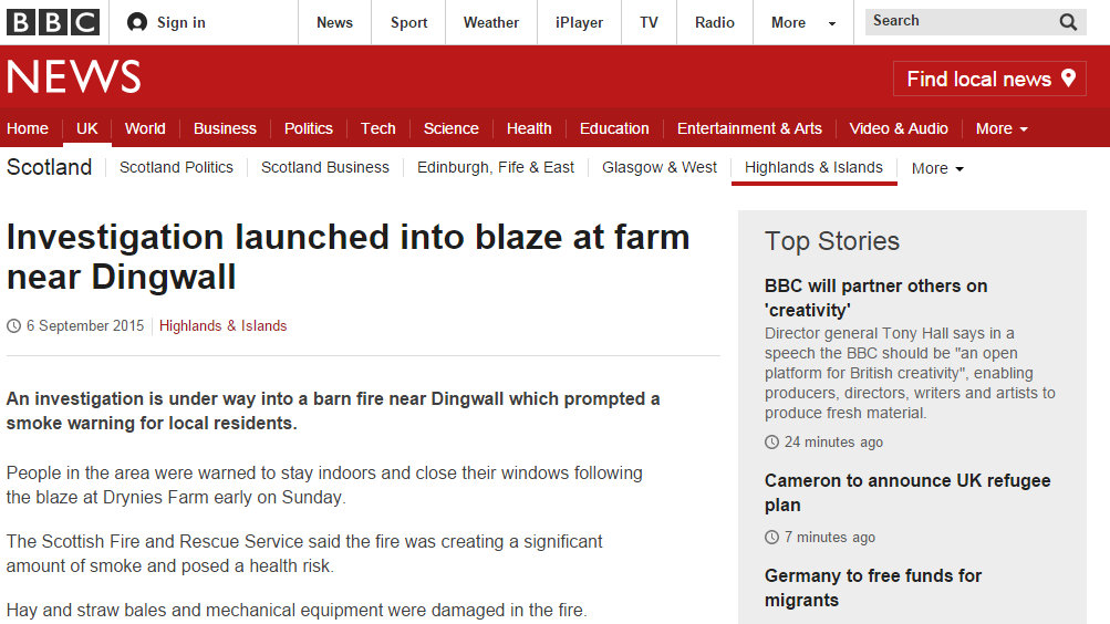 Investigation launched into blaze at farm near Dingwall