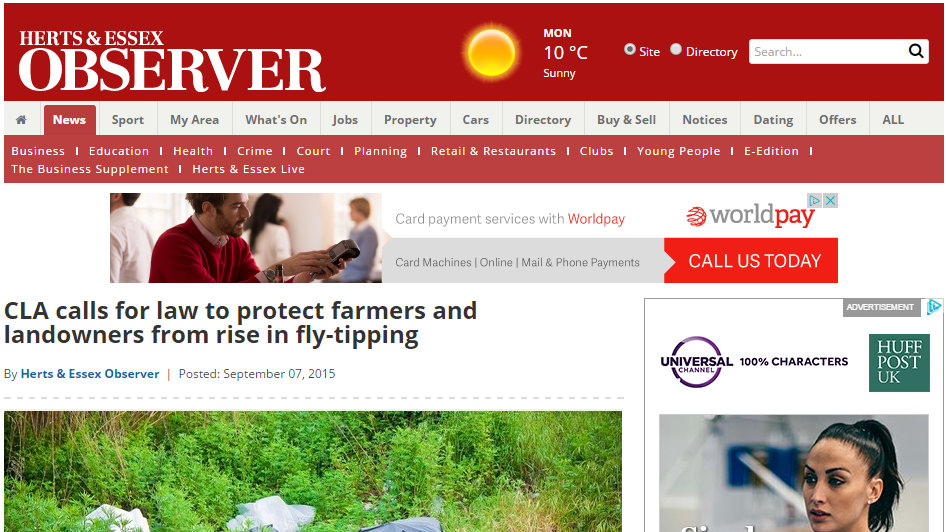CLA calls for law to protect farmers and landowners from rise in fly-tipping