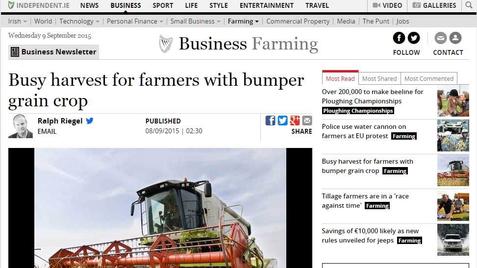 Busy harvest for farmers with bumper grain crop