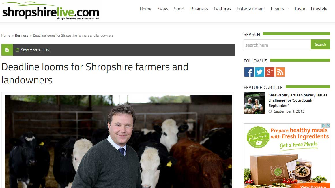 Deadline looms for Shropshire farmers and landowners