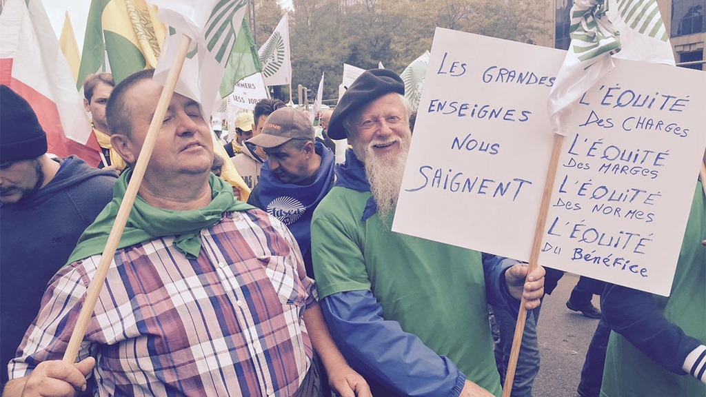 6,000 farmers from across Europe marched in Brussels on Monday