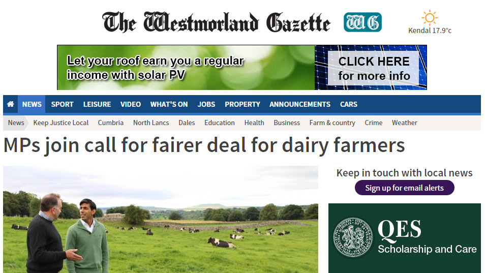 MPs join call for fairer deal for dairy farmers