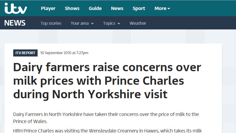 Dairy farmers raise concerns over milk prices with Prince Charles