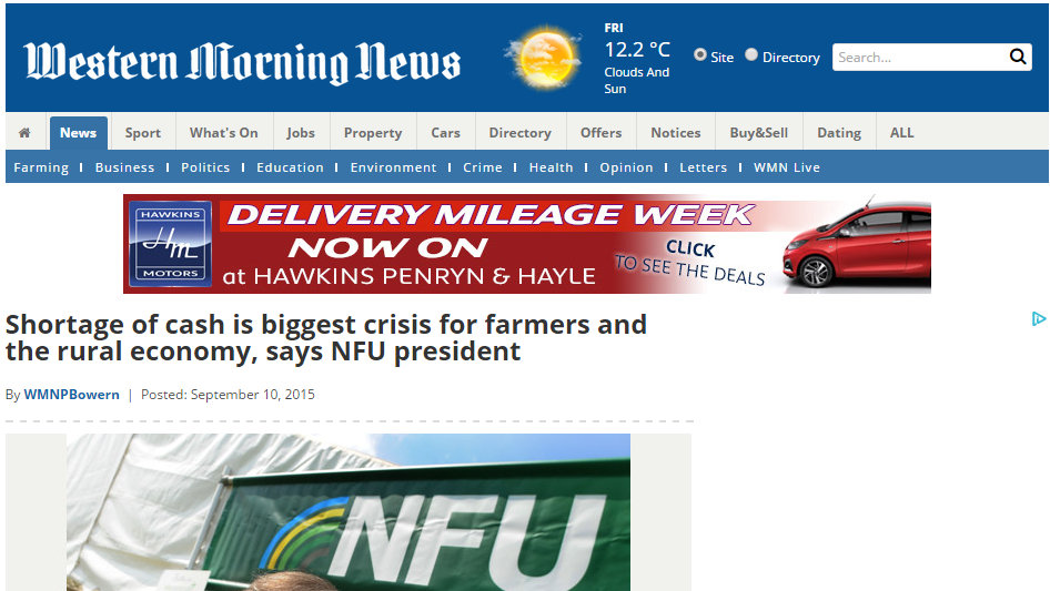 Shortage of cash is biggest crisis for farmers and the rural economy, says NFU president