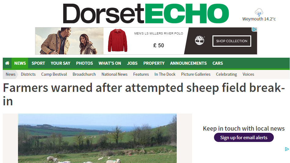 Farmers warned after attempted sheep field break-in