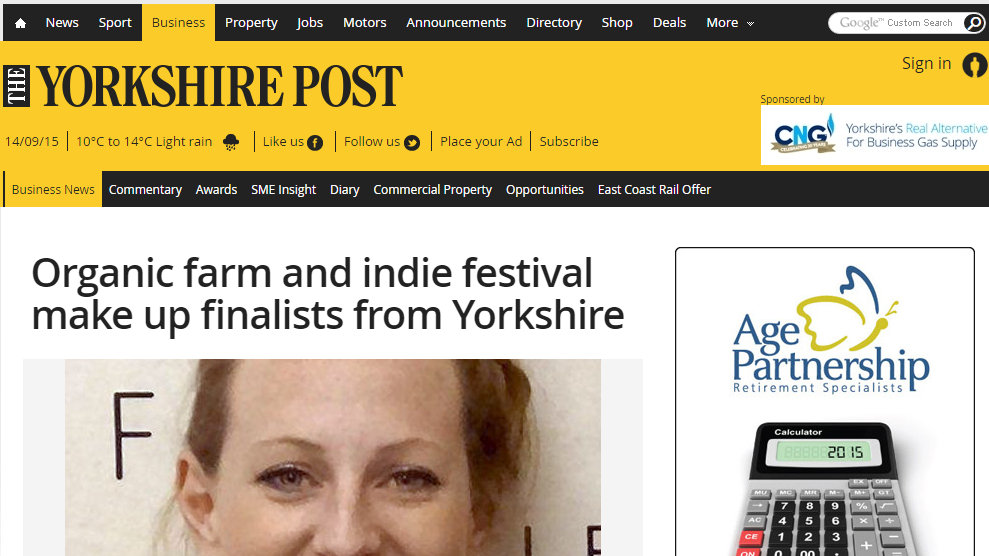 Organic farm and indie festival make up finalists from Yorkshire