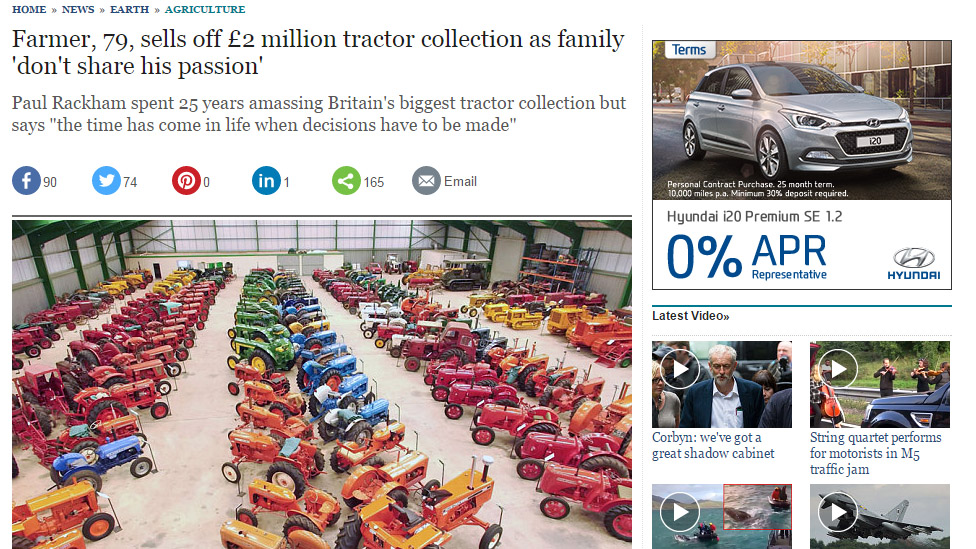 Farmer, 79, sells off £2 million tractor collection as family 'don't share his passion'