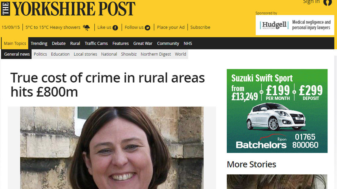 True cost of crime in rural areas hits £800m