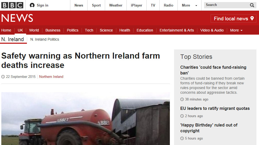 Safety warning as Northern Ireland farm deaths increase
