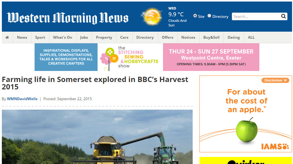 Farming life in Somerset explored in BBC's Harvest 2015