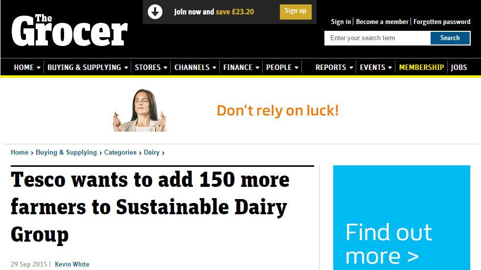 Tesco wants to add 150 more farmers to Sustainable Dairy Group