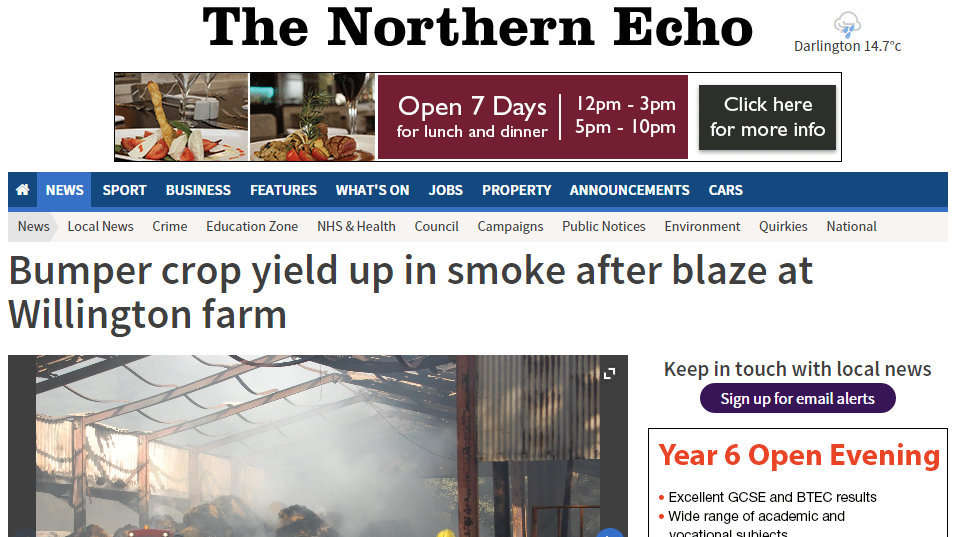 Bumper crop yield up in smoke after blaze at Willington farm