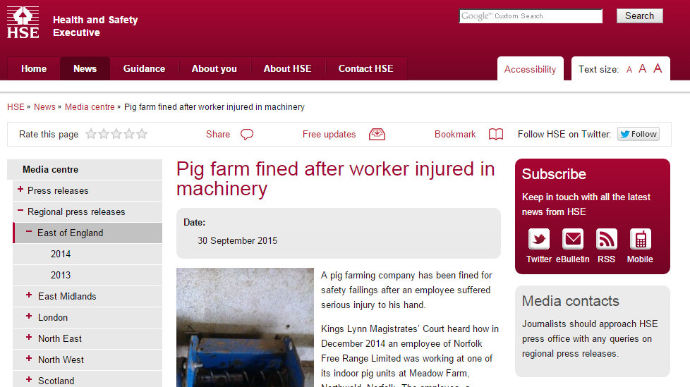Pig farm fined after worker injured in machinery