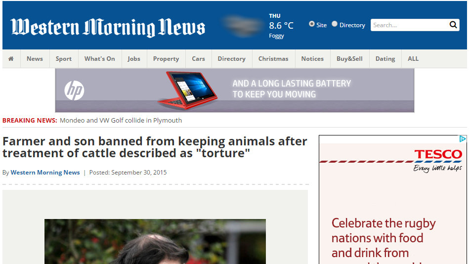 """Farmer and son banned from keeping animals after treatment of cattle described as """"torture"""""""