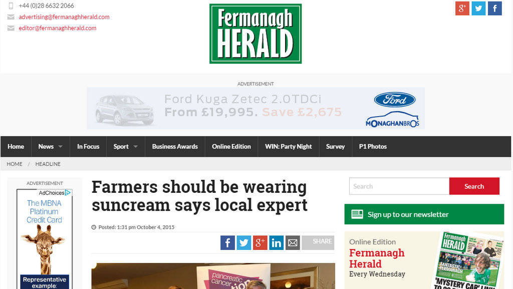 Farmers should be wearing suncream says local expert