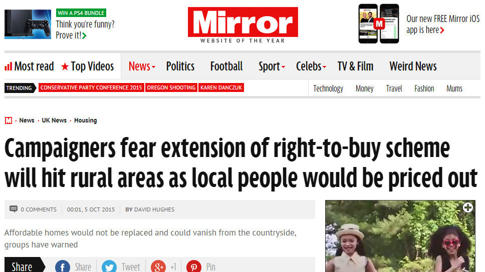 Campaigners fear extension of right-to-buy scheme will hit rural areas as local people would be priced out