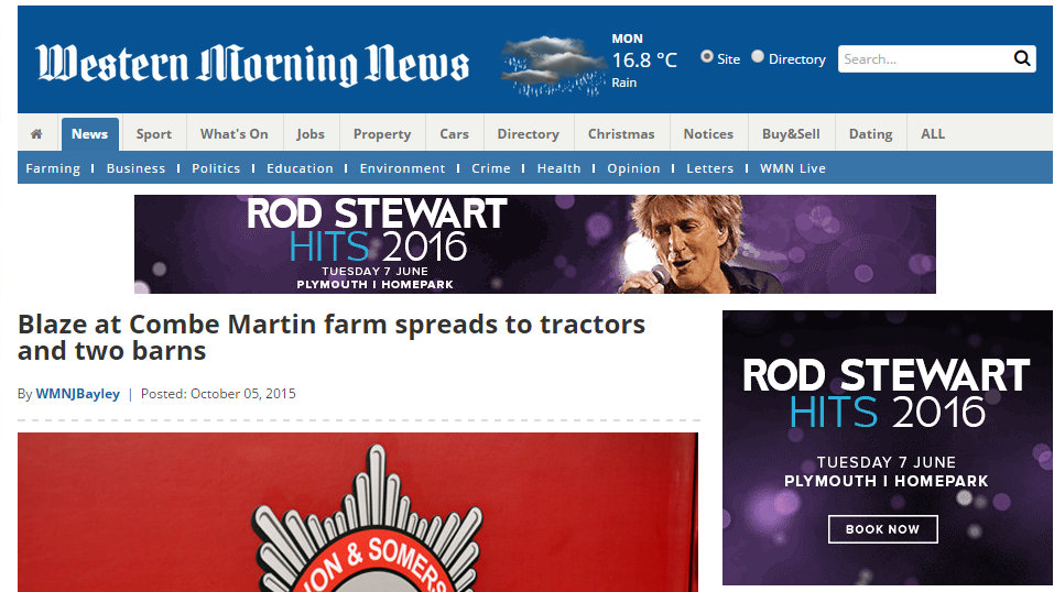 Blaze at Combe Martin farm spreads to tractors and two barns