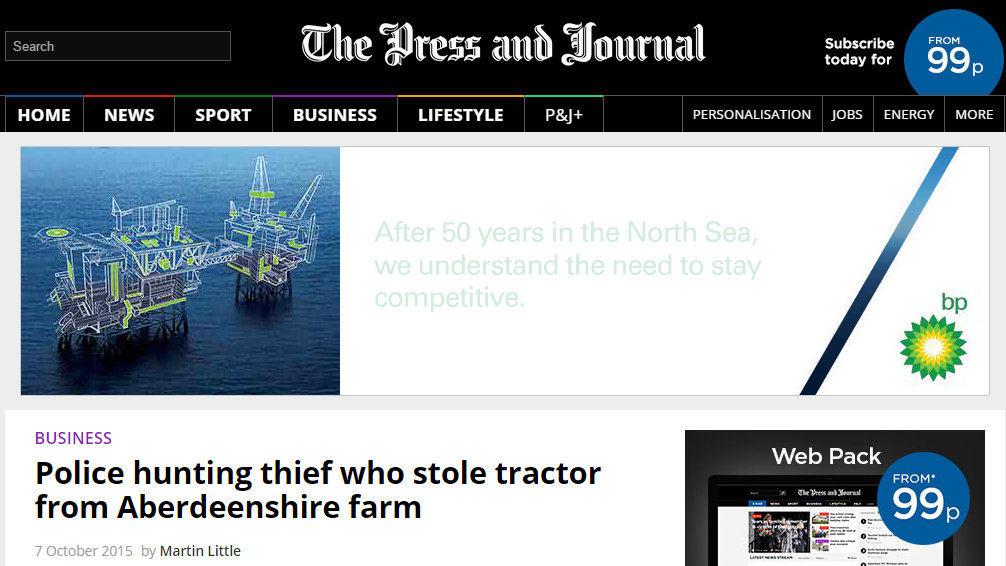 Police hunting thief who stole tractor from Aberdeenshire farm