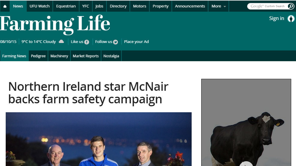 Northern Ireland star McNair backs farm safety campaign