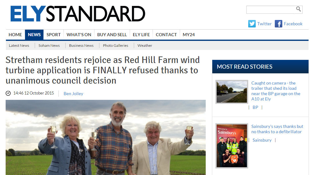 Stretham residents rejoice as Red Hill Farm wind turbine application is finally refused