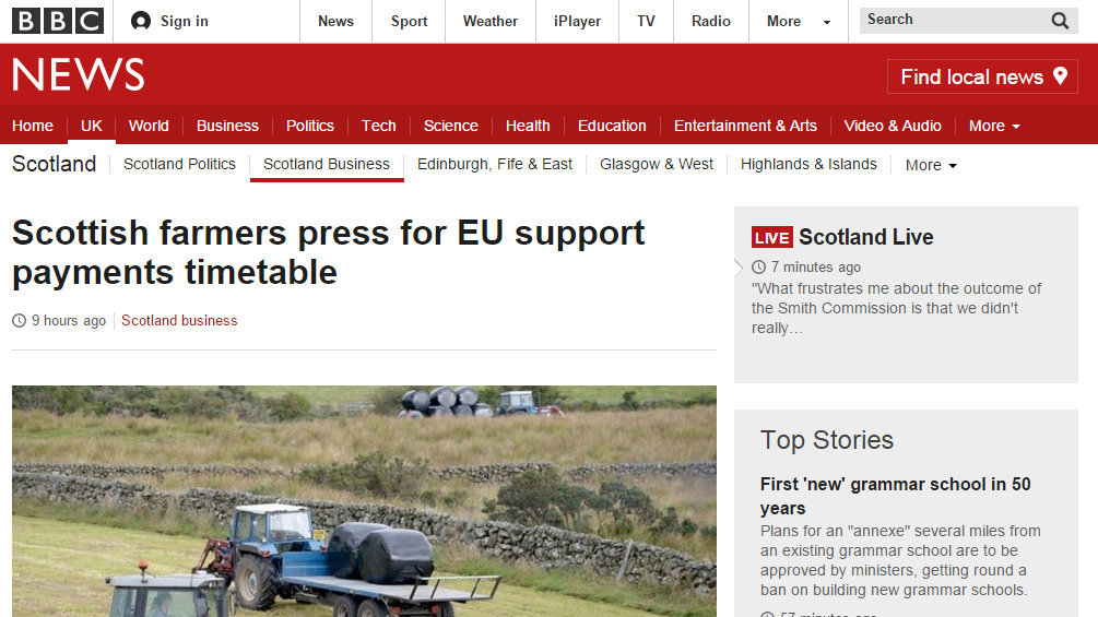 Scottish farmers press for EU support payments timetable