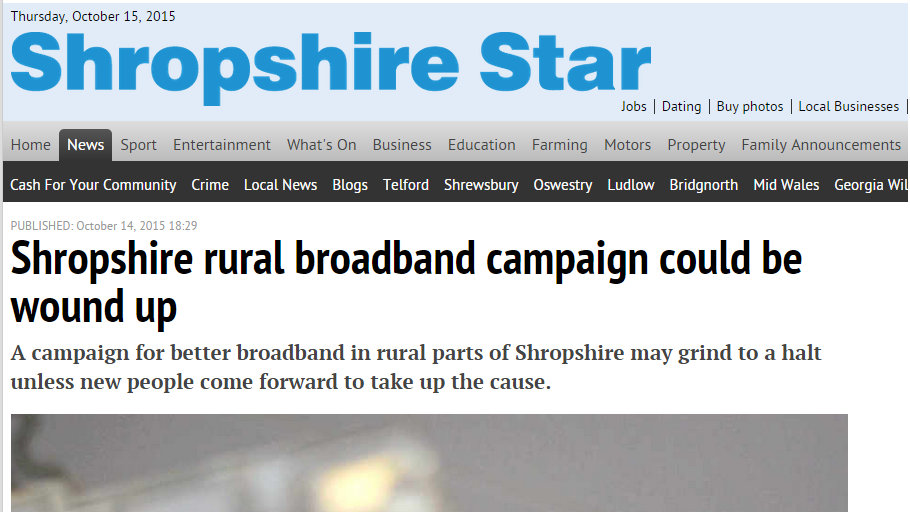 Shropshire rural broadband campaign could be wound up