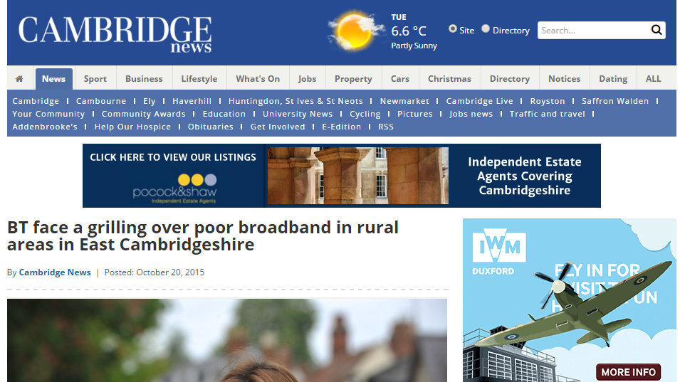 BT face a grilling over poor broadband in rural areas in East Cambridgeshire