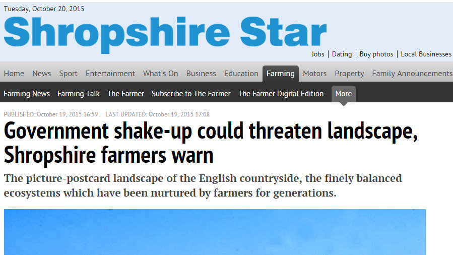 Government shake-up could threaten landscape, Shropshire farmers warn
