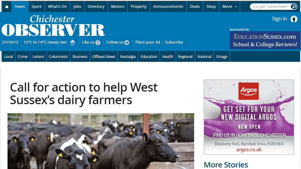 Call for action to help West Sussex's dairy farmers