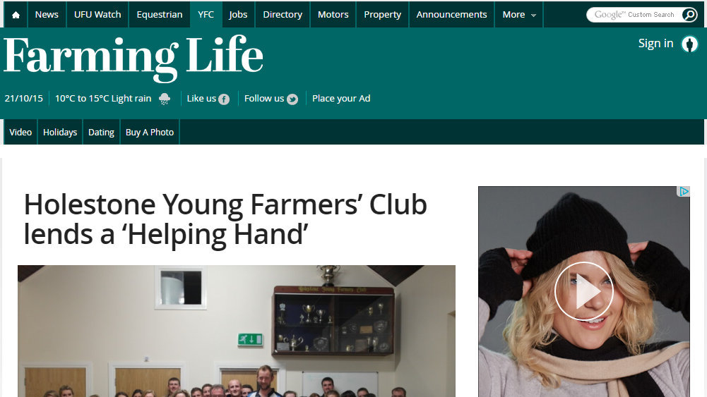 Holestone Young Farmers' Club lends a 'Helping Hand'