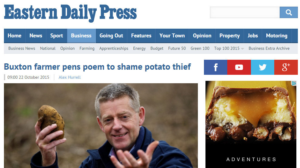 Buxton farmer pens poem to shame potato thief
