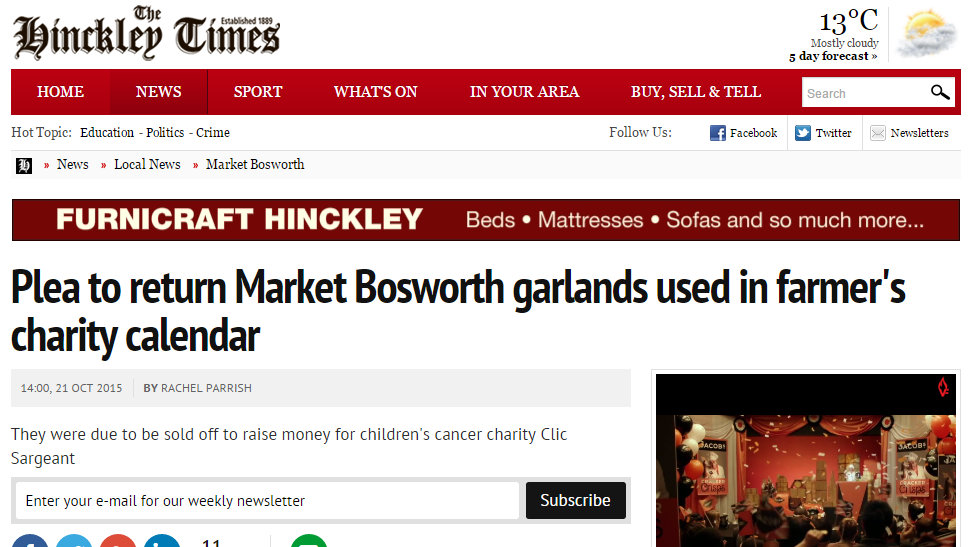 Plea to return Market Bosworth garlands used in farmer's charity calendar