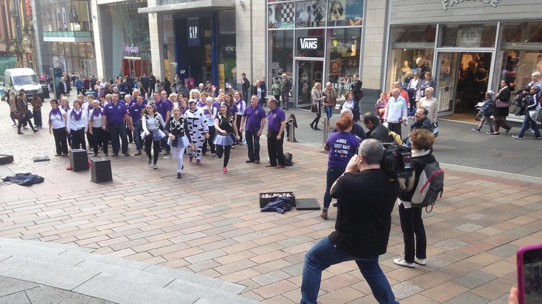 SAYFC flash mob in aid of struggling dairy industry