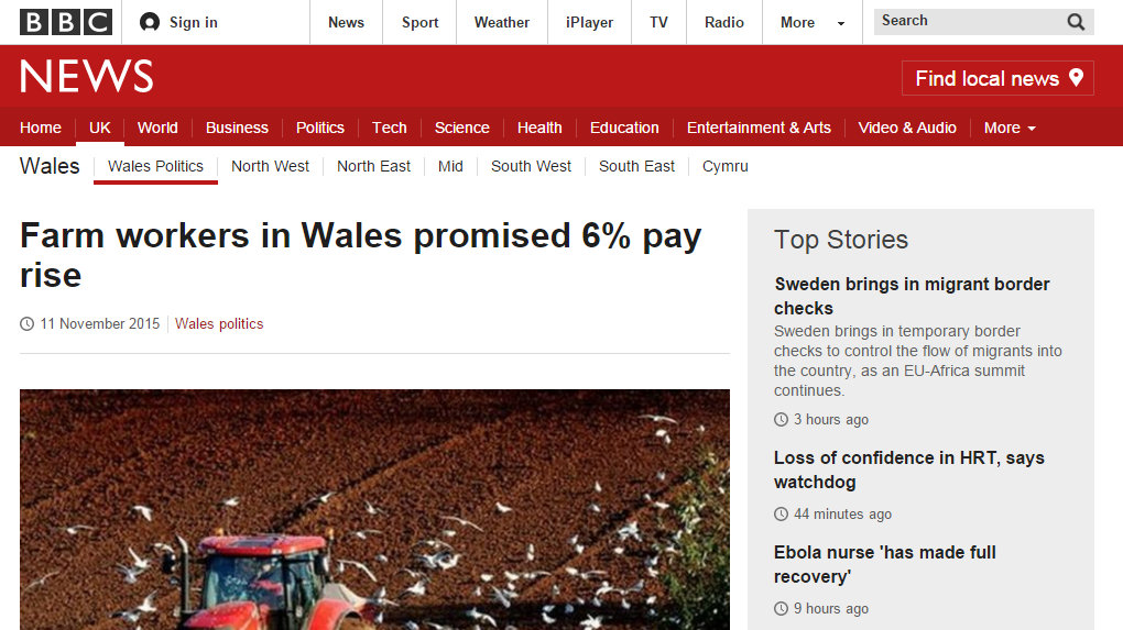 Farm workers in Wales promised 6 per cent pay rise